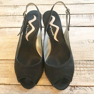 "NINA peep to sling back heels pumps 2.5"" size 5.5"